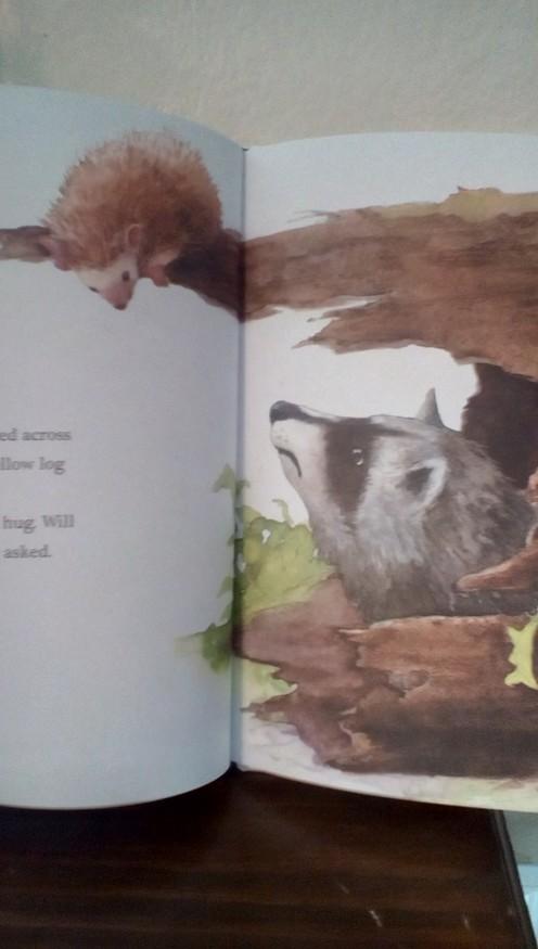 Raccon does not like Hedgehog's prickles-no hugs rom Raccoon