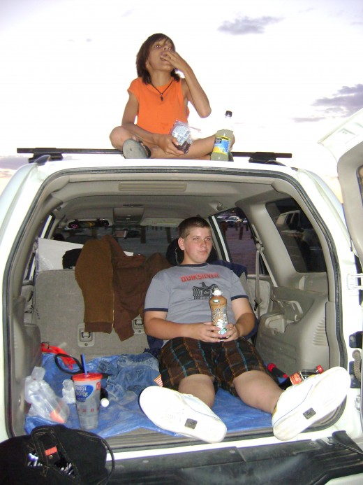 My kids at their first drive in movie.