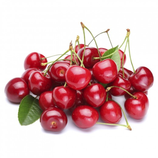 Cherries have long green stems.