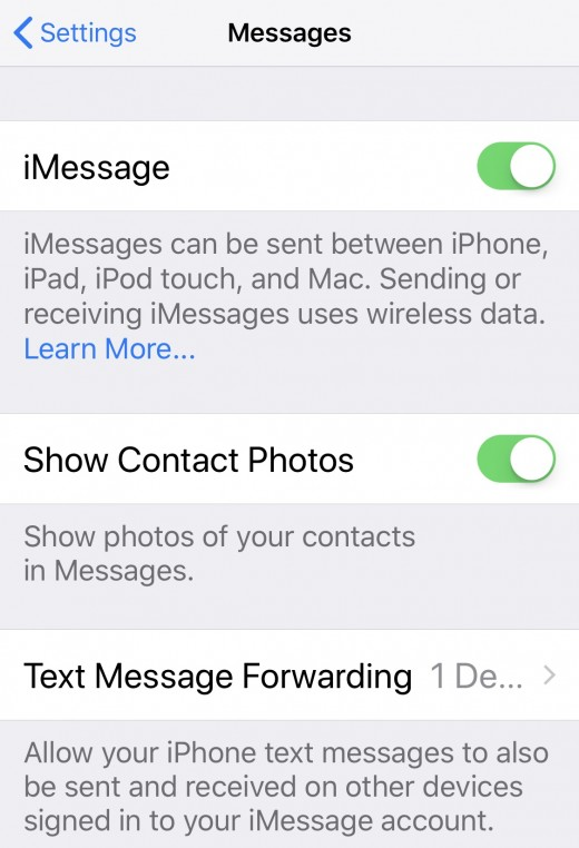 Settings, Messages, iMessage on, Text Msg Fwd