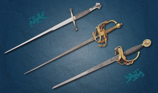 Sword one to cut one off from another Sword Two to cut into another Sword three to cut away at another