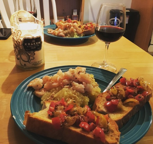 I've been making my own bread, which makes bruschetta taste even better. Spaghetti squash is a great swap for pasta and shrimp are a fantastic protein source.