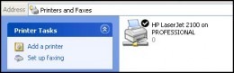 "network printer icon in the ""Printers and Faxes"" windows."