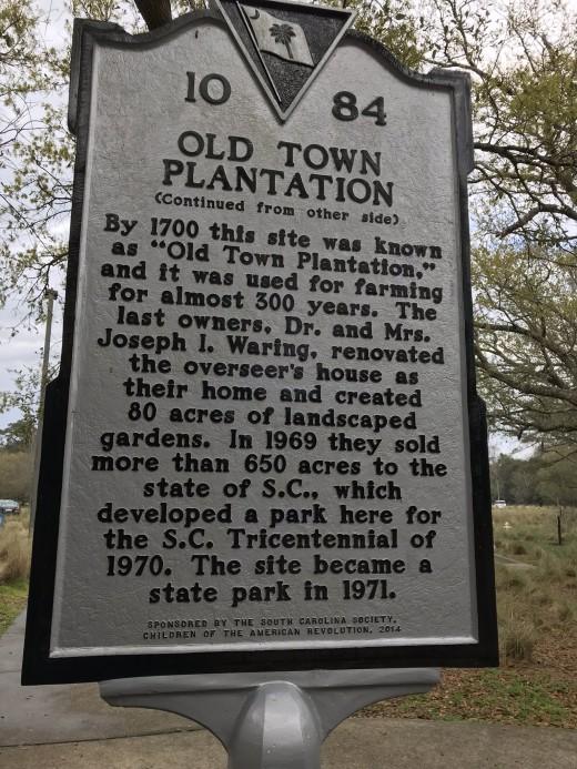 Historical marker commemorating Charles Towne Landing. (back)