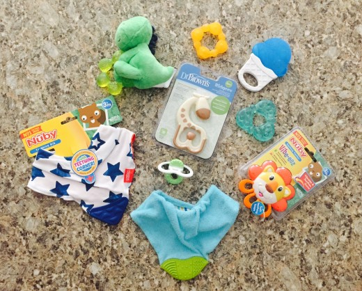 Chill-able Teethers, Pacifier Style Teether, Vibrating Teether, Ridges Teether and Teething Bibs.