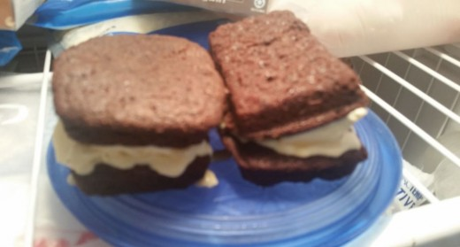 Note to self: let brownie cool completely before adding ice cream, or ice cream will start to melt, as shown here.