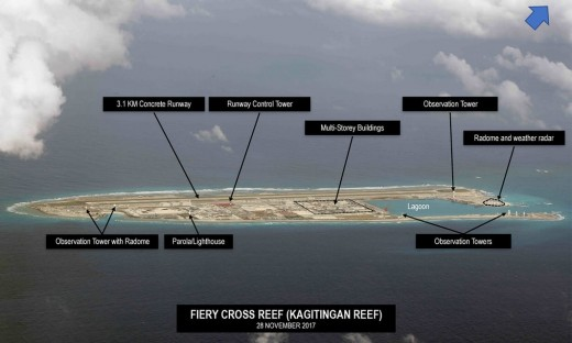 China's action on Fiery Cross Reef. Photograph: Inquirer.net/Philippine Daily Inquirer