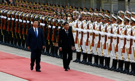 Rodrigo Duterte and Xi Jinping review the honour guard during the welcome ceremony at the Great Hall of the People in Beijing, China in 2016. Photograph: Pool/Getty Images