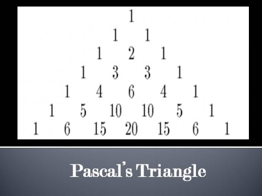 Pascal's triangle is a ready reference for finding the odds governing combinations.  each number within the triangle is obtained by adding the two numbers immediately above it.
