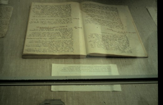Here are two pages from Anne's Diary on a display case at the Anne Frank Museum in Amsterdam