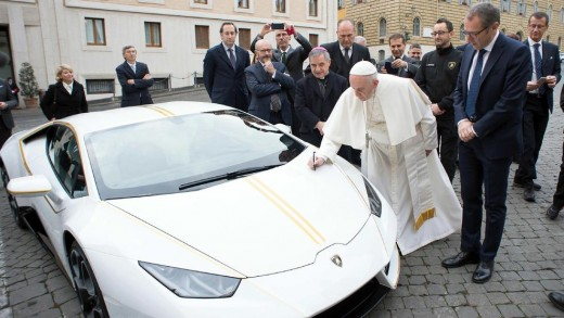 "The Pope Signing a Lamborghini  (While Children Continue to Starve to Death) ""Injustice upon earth renders the justice of heaven impossible.""  ― Robert G. Ingersoll"