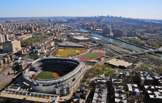 Aerial view of the South Bronx and Yankee Stadium