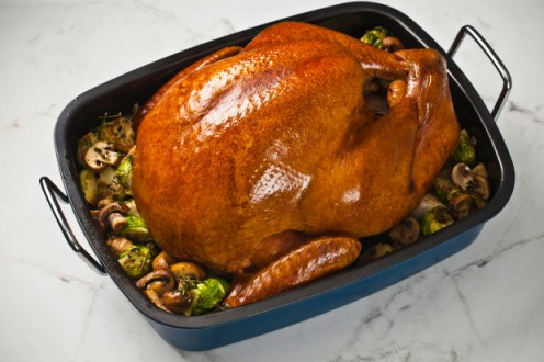 The Turkey was ready to be carved and to be served family-style