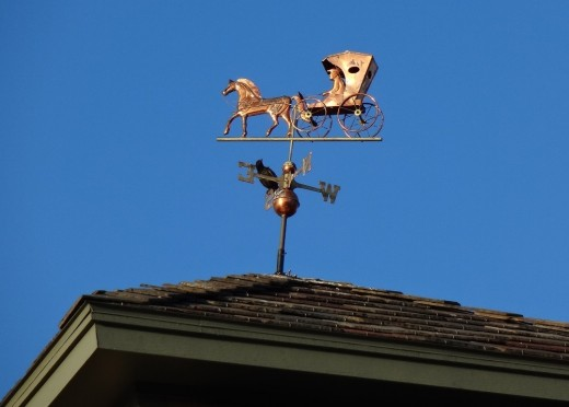 A weathervane on the portico of a Texas nursing home