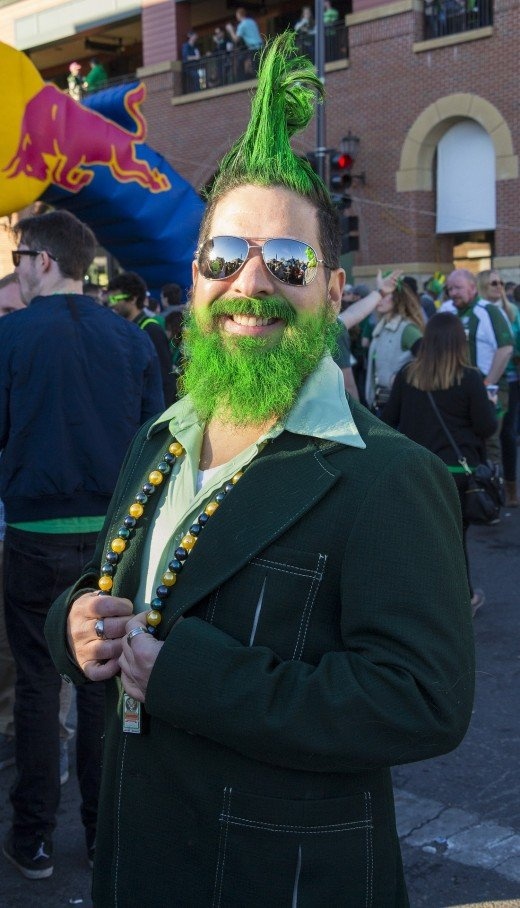 Leprechauns are said to be found at the end of a rainbow guarding their pot of gold.  St. Patrick's Day celebration finds people wearing green or orange colors.