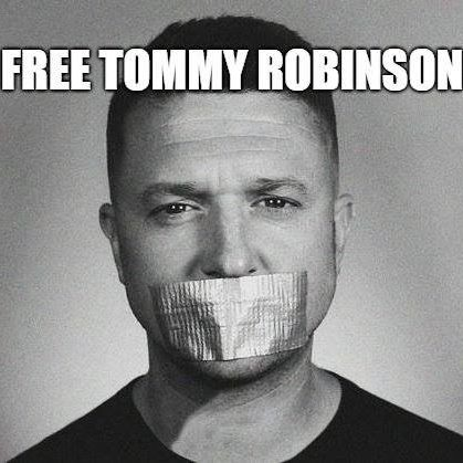 Poster of silencing EDL leader Tommy Robinson.