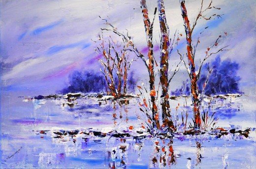 Winter landscapes offer the opportunity to experiment with different techniques and  color selections.