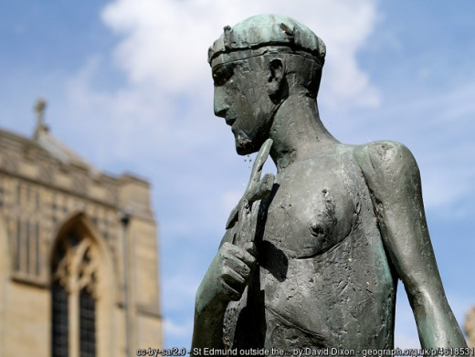 Statue representing the sainted King Edmund. By Dame Elisabeth Jean Frink (1930-1993)