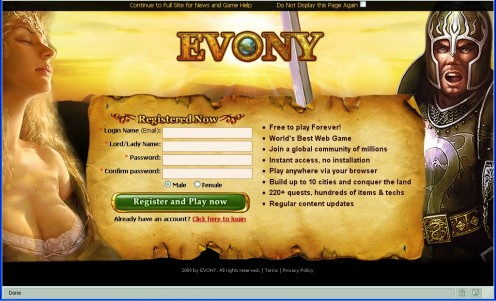 Evony.com - where the men are angry and the women are drowsy.