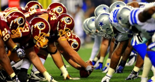 Cowboys and Redskins at the line