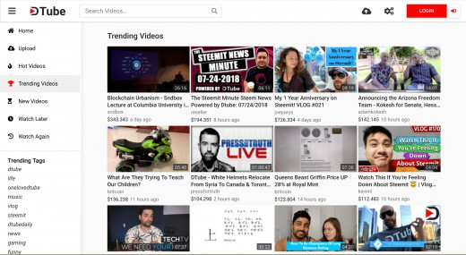 The Dtube trending page.