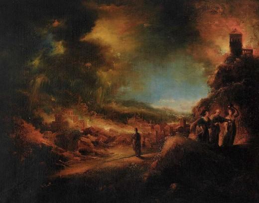 """""""Lot flieht mit seinen Töchtern aus dem brennenden Sodom"""" J.G. Trautmann {{PD-1923}}"""