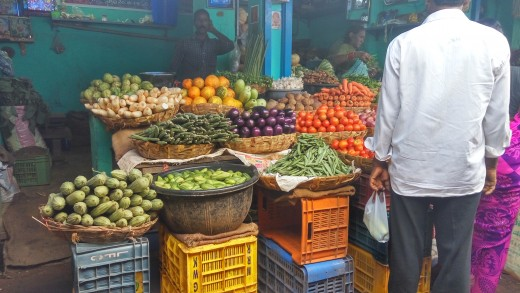 Main market area in Vizag. A lot of local produce and spices can be found at this marketplace.