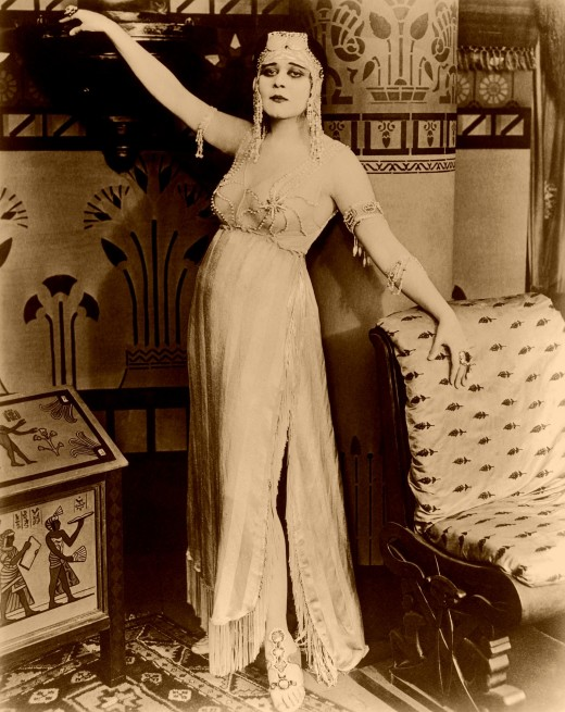 The name Cleopatra brings to peoples' minds many different ideas of how she may have looked. This photo shows Thea Bera of the silent film era.  There are misconceptions and myths which surround this dance.