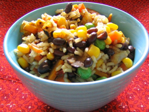 Rainbow Rice and Beans- an excellent dish that adds much needed protein to the vegan diet.