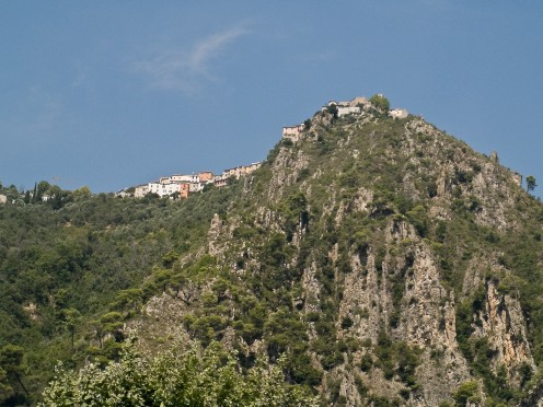 The perched village of Bonson (Alpes-Maritimes, France), seen from the Var valley.