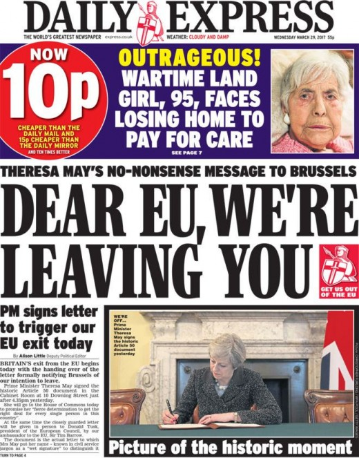 Newspaper headline detailing the day the UK voted to leave the EU.