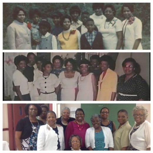 Top photo: Sisters along with our late mother and our two late brothers. Second photo: All my sisters and my mom at my 40th birthday party. Bottom photo: Sisters and cousins at Blanche's ordination. The oldest sister is not short. She is sitting.