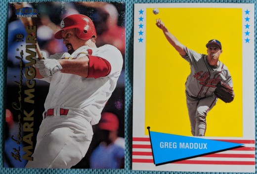 Opening six packs of 1999 Fleer Tradition was frustrating, as the base cards stuck together, causing the gloss pull-off seen above on the top of the Mark McGwire. The only thing saving every card from being stuck together was the Vintage '61 inserts.