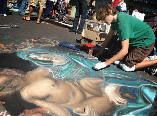 the chalk art competition at this year's festa. little italy. san diego.