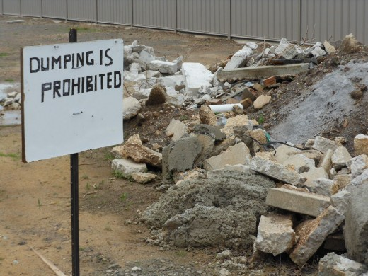 It's never okay to dump your concrete in a no-dumping zone.