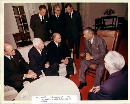 President Lyndon B. Johnson meets President Eamon de Valera (centre) meeting US  in the Oval Office