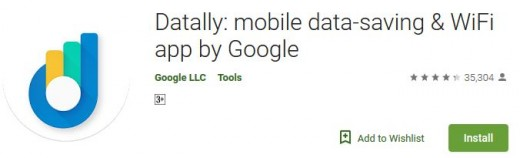 Screenshot of Datally's icon as seen on Google Playstore