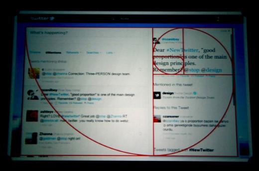 A screen-shoot of Tweeter's Layout Design Applying the Golden Ratio