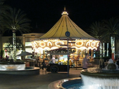 The carousel at the Irvine Spectrum shopping mall is just one of the fun rides.
