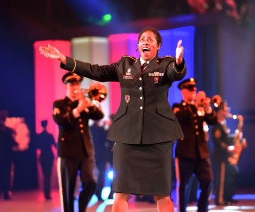 "Aretha is classic.  Here, Sgt. Andrea Griffith of the U.S. Army Europe Soldiers' Chorus sings ""Think"" by MS. Franklin during the Band and Chorus' performance at the 2017 Musikschau der Nationen (Music of the Nations) Jan. 27, 2017 in Bremen, Germany."