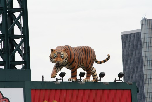 Comerica Park statue on the scoreboard.