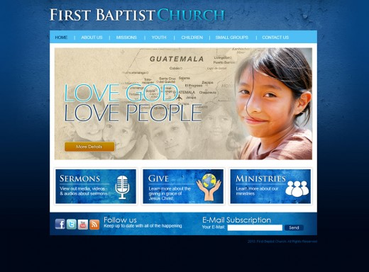 Attractive and simple church website.