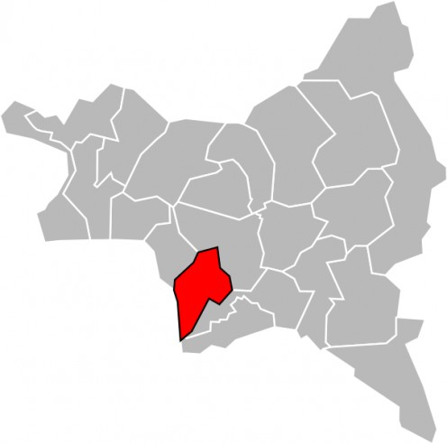Map location of Bagnolet canton in Seine-Saint-Denis department