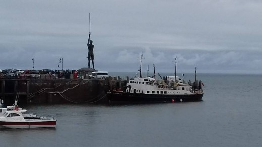 A photograph of Verity and the MS Oldenburg again this time moored up at Ilfracombe.