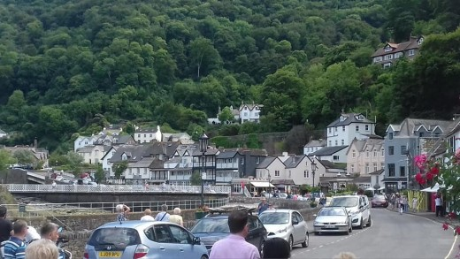 A photograph of Lynmouth. I was especially enchanted by the forested hillside.