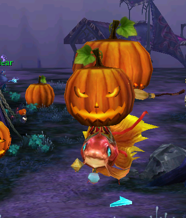 Pumpkin head from special Halloween quest while riding a fishie.