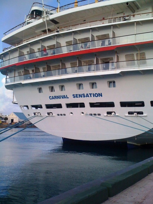 Carnival cruise ship docked in the Bahamas.