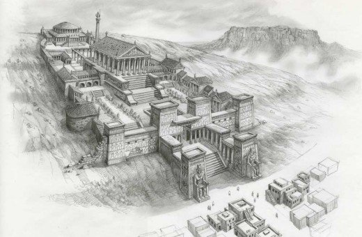 An artist's conception of the Library at Alexandria