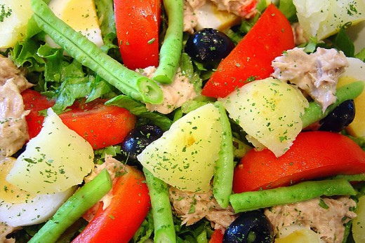Don't be afraid to throw a few pieces of leftover baked potato into your green salad.  Be creative, it's great with tomatoes, black olives, lettuce, green bean, leftover chicken or tuna and throw in a cucumber, you won't be sorry.