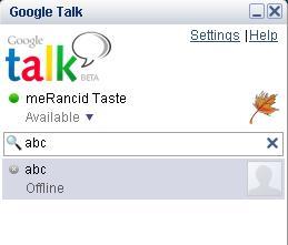 gtalk (google talk) appearance after login.